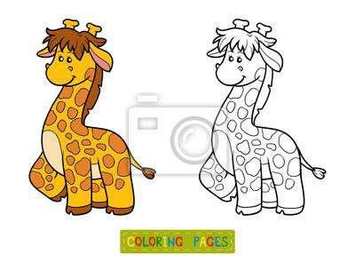 Cuadro Dibujo Para Colorear Para Niños Jirafa