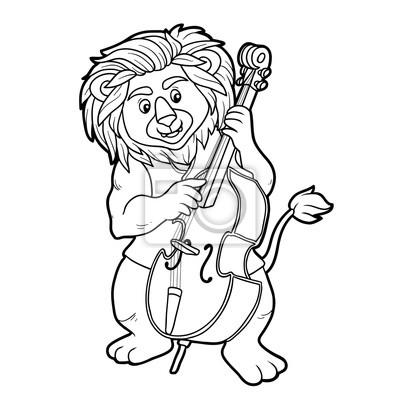 Dibujo para colorear para niños: leon y violonchelo pinturas para la ...