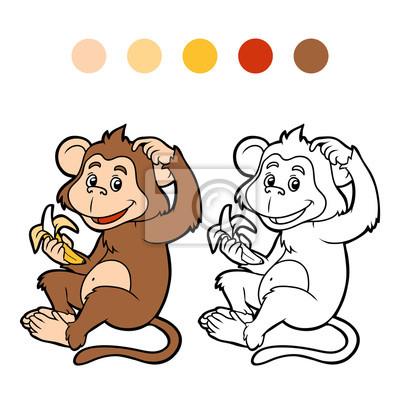 Dibujo Para Colorear Para Niños Mono Pinturas Para La Pared