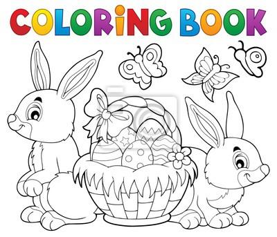 Dibujo para colorear pascua canasta y conejos pinturas para la pared ...