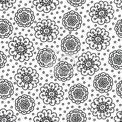 Dibujo para colorear patrón de flores. mano sin costuras dibujado ...