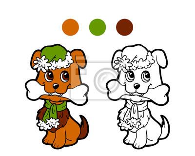 Cuadro Dibujo Para Colorear Perro De Invierno De Navidad Juego Para