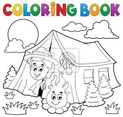 Dibujo Para Colorear Scout Camping En Tienda Pinturas Para