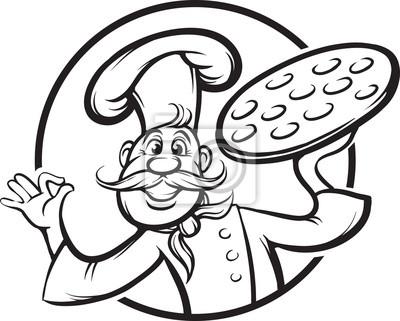 Dibujo pizarra - de dibujos animados cocinero de la pizza mascota ...