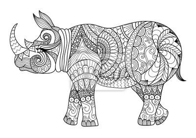 Dibujo Rinoceronte Zentangle Para Colorear La Pagina Efecto