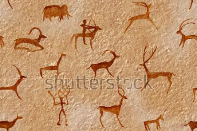 Cuadro Dibujo sin costuras en una cueva pintada por un hombre antiguo en una pared, una roca. Pinturas rojo anaranjado ocre. La caza de un animal. Chamán, aborigen, neandertal, hueva, carnero, barco, mamut,
