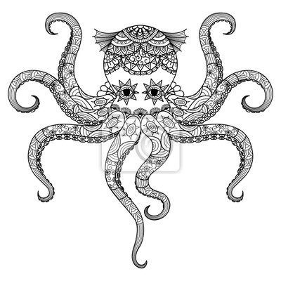 Dibujo zentangle pulpo diseño de libro para colorear para adultos ...