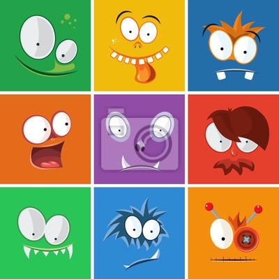 49d1189b7ad82 Cuadro Dibujos animados caras divertidas con emociones. Monstruos conjunto  de vectores de expresión. Expresión