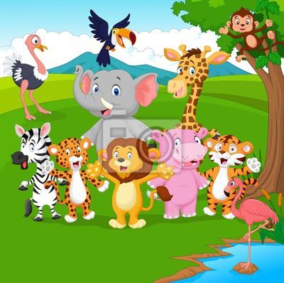 Dibujos Animados De Animales Salvajes En La Selva Pinturas Para La