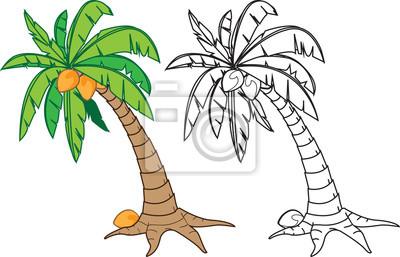 Dibujos Animados De árboles De Coco En Color Y La Versión N