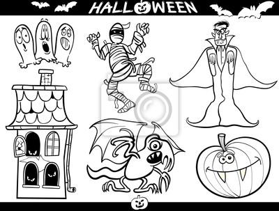 Dibujos animados de halloween temas para coloring book pinturas para ...