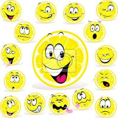 Dibujos Animados De Limón Con Muchas Expresiones Pinturas