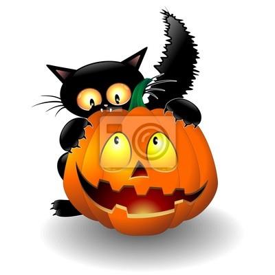 Dibujos Animados Del Gato De Halloween Que Muerde Una Calabaza Gatto - Calabazas-animadas
