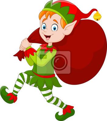 Dibujos Animados Elfo De Navidad Con Una Bolsa De Regalo Pinturas