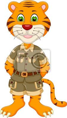 Dibujos Animados Lindo Tigre Posando Con Risas Pinturas Para