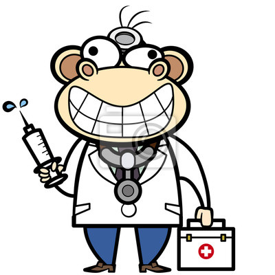 Dibujos animados médico mono con botiquín de primeros auxilios ...
