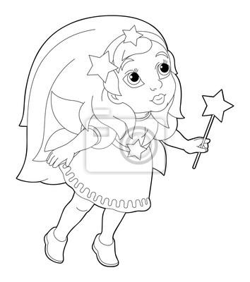 Dibujos Animados Para Colorear La Pagina De Un Hada Vuelo