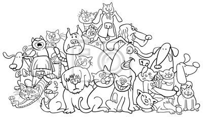 Dibujos Animados Perro Y Gatos Para Colorear Pinturas Para La Pared