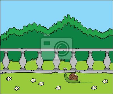 Dibujos Animados Poco Feliz Caracol Que Se Mueve En El Jardín