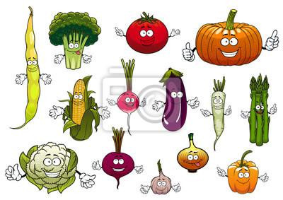Dibujos Animados Saludables Hortalizas Felices Pinturas Para La