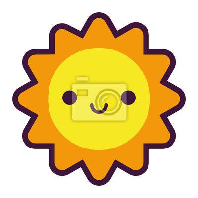 dibujos animados sol lindo sonriendo aislados sobre fondo blanco