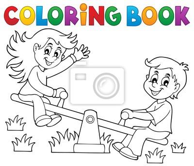 Cuadro Dibujos Para Colorear Niños En El Tema De Balancín 1