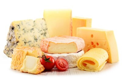 Cuadro Diferentes tipos de queso aislado en fondo blanco