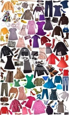 c9f9dac5c529 Cuadro diferentes tipos de ropa para las mujeres aisladas en blanco
