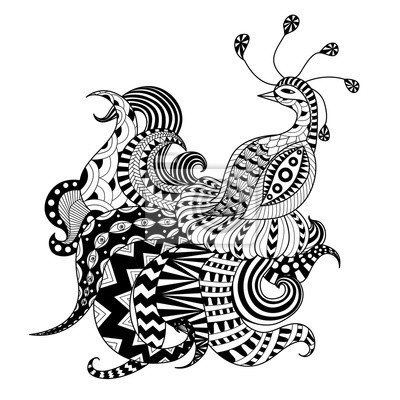 Digital Dibujo De Pavo Real Zentangle Pinturas Para La Pared
