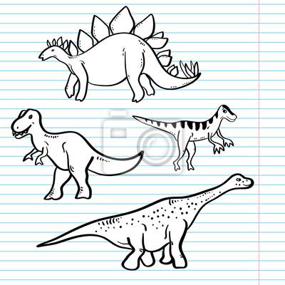 Dinosaurios Blanco Y Negro En Una Coleccion Hoja De Cuaderno Pinturas Para La Pared Cuadros Dino Extinto Estudio Myloview Es ¿ya te enteraste de las últimas noticias? dinosaurios blanco y negro en una coleccion hoja de cuaderno cuadros myloview