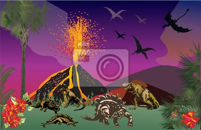 dinosaurios en el bosque cerca de volcán