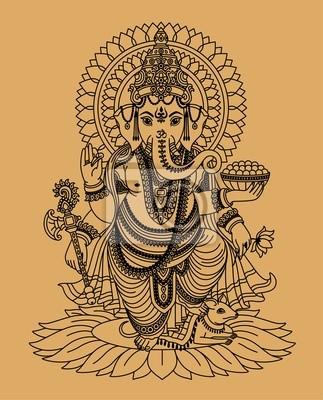 Dios ganesha de la india pinturas para la pared • cuadros hacha ...