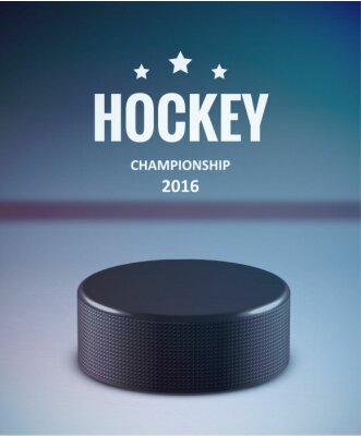 Cuadro Disco de hockey aislado en el hielo con desenfoque
