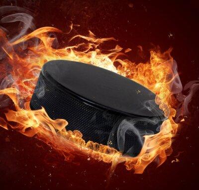 Cuadro Disco de hockey Caliente en los incendios de llama