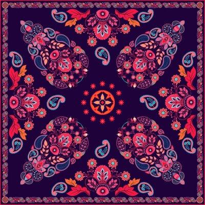 Cuadro Diseño cuadrado floral de Paisley del vector