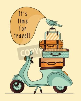 Cuadro Diseño de cartel de scooter vintage. Scooter con equipaje