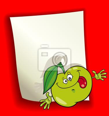 Diseño de dibujos animados con manzana verde pinturas para la pared ...