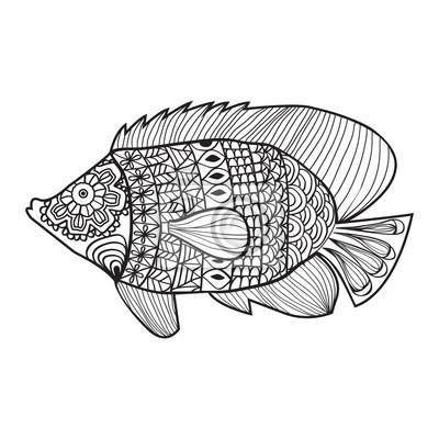 Diseño De Estilo Zentangle De Pescado Para Colorear Pinturas Para La
