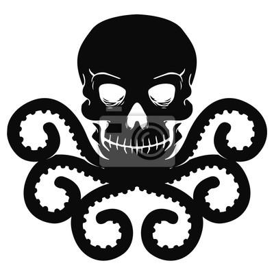 Diseño De La Camiseta Cráneo Con El Pulpo En Un Estilo Del Tatuaje