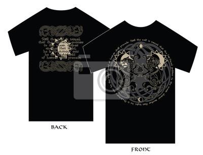 3f4a498ed7e59 Cuadro Diseño de la camiseta. Dos lobos de la mitología nórdica