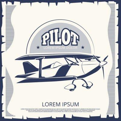 Cuadro Diseño de la etiqueta - aeroplano del cartel del vintage