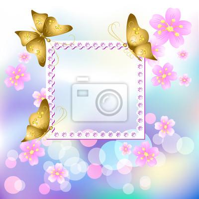 Diseño de marcos con flores y mariposas pinturas para la pared ...