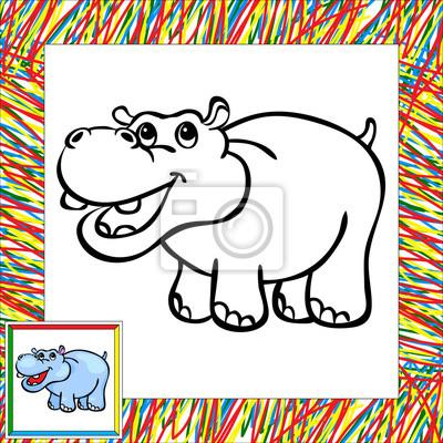 Cuadro Divertidos Dibujos Animados De Libro Para Colorear Hipopótamo