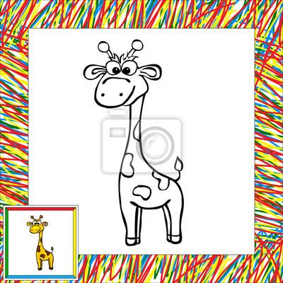 Divertidos dibujos animados de libro para colorear jirafa pinturas ...