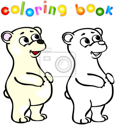 Cuadro Divertidos Dibujos Animados Oso Polar Libro Para Colorear