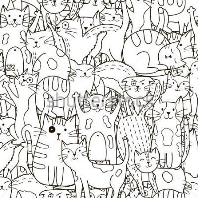 Cuadro Doodle de patrones sin problemas de los gatos. Fondo lindo blanco y negro. Ideal para colorear, envolver, imprimir, telas y textiles. Ilustración vectorial