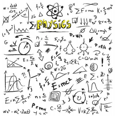 Cuadro Doodle physics formulas background, texture and pattern