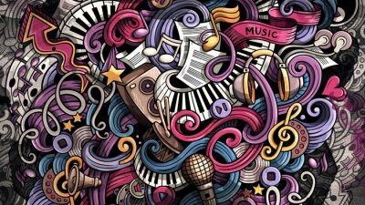 Cuadro Doodles Music illustration. Creative musical background