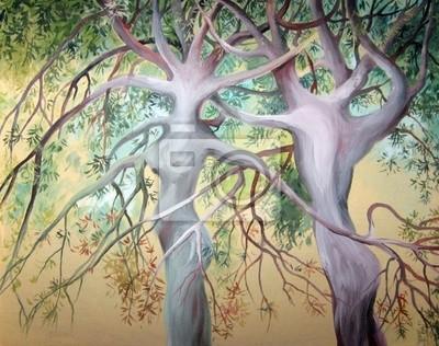 Dos árboles del amor. Pintado en acuarela sobre lienzo