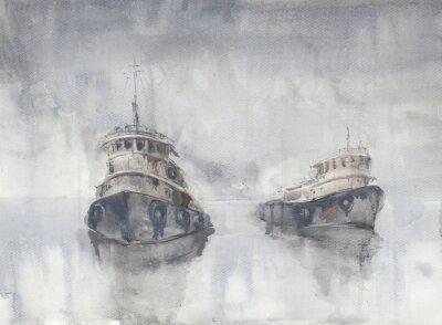 Cuadro Dos barcos en el mar. Clima nublado. Lluvia. Mar. Los barcos de Fishind.